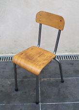 CHAISE ECOLE enfant VINTAGE métal gris bois DESIGN 50 60 70 MULLCA