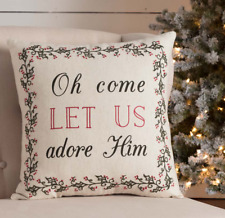OH COME LET US ADORE HIM 18x18 PILLOW : HOLLY CHRISTMAS IVORY COTTON CUSHION