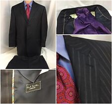 Paul Smith London Suit 42L Gray Stripe 3bt 36x31 Flat Front 42 L Italy YGI 4048
