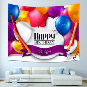 Happy Birthday Colorful Balloons Tapestry for Living Room Hippie Wall Hanging