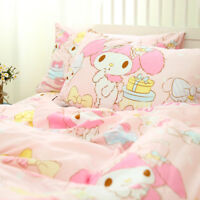 My Melody Birthday Present Cake Pink Melody Cotton Bed Sheet Quilt Cover 4pcs