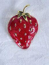 "Brooch Pin Red Green Gold Strawberry 2"""