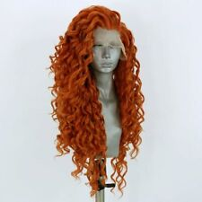 US stock 24inch Synthetic Lace front wigs Handtied Afr Curly Orange Cosplay