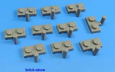 LEGO 1x2 Piastra Grigio Scuro Verticale Orizzontale con 90° manico / 10-pc