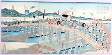 1863 Utagawa Yoshimori Japanese Woodblock Print 19th Century triptych Nishiki-e