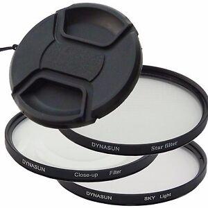 Set 62mm 4 Point Star Filter DynaSun 62 + Close Up +Skylight SKY + Snap-on Cap