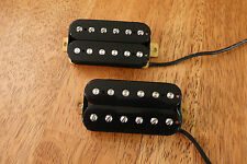 HUMBUCKER PICKUP SET BLACK ALNICO 2 MAGNETS VINTAGE OUTPUT FOUR CONDUCTOR WIRED