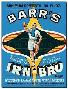IRN-BRU Vintage effect metal sign print poster retro man cave bar Iron Brew