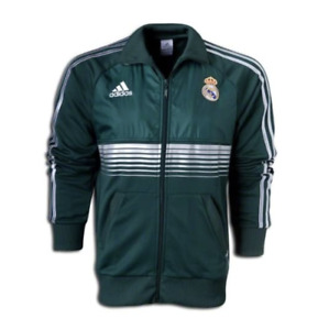 NEW! Mens Adidas REAL MADRID Anthem Soccer Ivy Green Track Top Jacket Spain