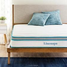 Linenspa 8 Inch Memory Foam and Innerspring Hybrid-Mattress - Medium-Firm Fee...