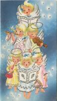 VINTAGE CHRISTMAS BLONDE ANGELS STARS CHOIR MUSIC WHITE PINK BLUE GREETING CARD
