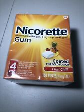 ❌ 🚬Nicorette 4mg 160 Pieces Gum Fruit Chill Flavor 04/23 Exp  ✔️Wrapped✔️