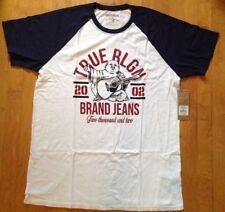 TRUE RELIGION NWT Raglan Crew Graphic Logo Varsity T-shirt Top Size XXL Navy/Whi