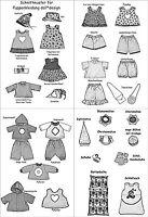°°35 Schnittmuster für Puppenkleidung für Baby Puppen Puppengröße 32 cm°°