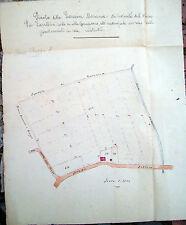 1850 MAPPA CATASTALE DI CAMPIANO RAVENNATE DISEGNATA A MANO A COLORI