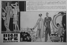 PUBLICITÉ 1928 HIGH LIFE TAILOR PURE LAINE PEIGNÉE - ADVERTISING