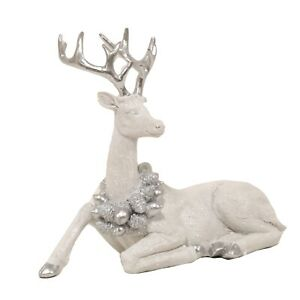 Large White Silver Stag Deer Reindeer with Wreath Figurine Ornament 21cmx23cm