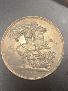 1902 KING EDWARD VII SILVER CROWN - ABOUT UNCIRCULATED