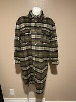 H&M Trend Oversized Wool Khaki Green Plaid Jacket Coat Shirt Jacket Size Small