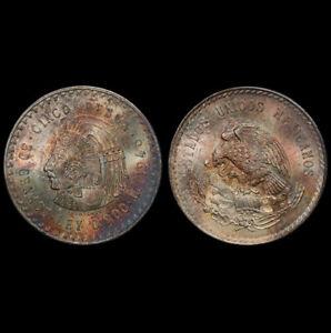 MS66 1948-Mo Mexico Cuauhtemoc Silver 5 Pesos, PCGS Secure- Rainbow Toned