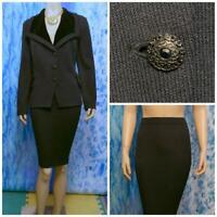 ST. JOHN Evening Knits Black Jacket & Skirt L 12 10 2pc Suit Buttons Velvet Trim