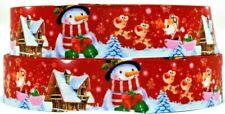 "Grosgrain Ribbon Ribbon 7/8"" & 1.5"" Christmas Santa Frosty Snowman Printed."