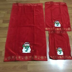 Christmas Hand Fingertip Bath Towel Set Snowman Red Bathroom Decor Seasonal