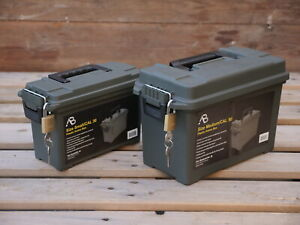 Plastic Ammo Box Set of Two 50 30 Cal Water Resistant Tool Storage With Padlocks