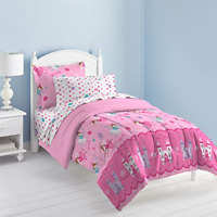 5 Piece Girls Comforter Set Ultra Soft Microfiber Girls Kids Bedding Pink Twin