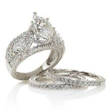 Certified 2.80Ct 14K White Gold Marquise Cut Diamond Engagement Trio Ring Set