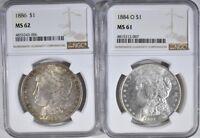 1886  Morgan Silver Dollar NGC MS62 and 1884 O MS61 UNCIRCULATED $1 Coin