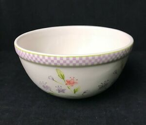 Boyd's Bears Bearware Pottery Works 2004 Flowered bowl purple checked rim 5 1/2