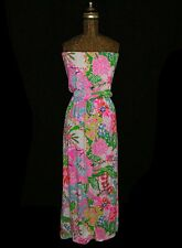 LILLY PULITZER FOR TARGET Strapless Nosey Posey Cat Theme Maxi Dress Sundress XS