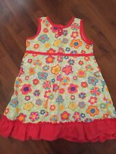 Girls Size 5 110 Hanna Andersson Sleeveless Dress Floral Cotton