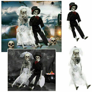 New Poseable Full Life Size Human Couple Skeleton Prop Halloween Party Decor
