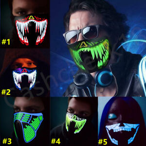 LED Mask Rave Music Luminous Scary Light Up Party Purge Halloween Glow In Dark