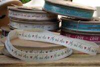 EAST OF INDIA vintage word ribbon - Mr and Mrs 3 Metre Roll 3110 EOI