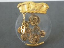 Vintage CASUAL CORNER Glass Pot of Gold Coins Lock Key Charms Brooch #1574-RARE