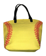 Softball Baseball Seam Canvas Tote Sports Bag, Best Yellow Softball Bag
