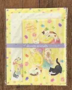 Letter Sheet Envelope Cat Lemon Sweets Animals Set Stationery Japanese Yellow