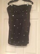 Black Strapless Bejeweled Mini Dress Size L