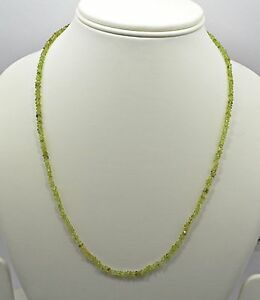 "Beautiful Natural Peridot 18"" Single Strands Faceted Beads Necklace"