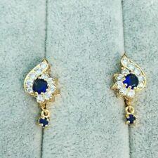 Pretty New Yellow Gold Plated Sapphire Blue & Clear CZ Huggie U-Hoop Earrings