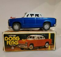 """Rare Voiture Dong Feng Blue Sedan Tin 6.7"""" Friction Toy!  Works Great! Vintage"""