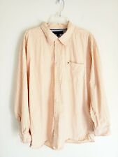 Tommy Hilfiger Orange White Plaid Button Down Shirt Men Plus Size XXL Cotton