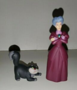 DISNEY CINDERELLA'S STEPMOTHER LADY TREMAINE & LUCIFER CAT PVC FIGURE SET/2