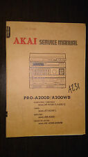 Akai pro-a200d wd service manual original repair stereo turntable amp cassette