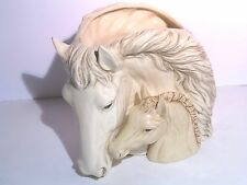 Ceramic White Mare and Sorrel Foal Horse Vase Napco style 2 piece