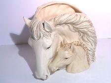 Ceramic White Mare and Sorrel Foal Horse Vase Napco style 2 piece