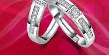 Couple Rings Women 925 Sterling Silver CZ Wedding Ring Set/Mens Matching Band